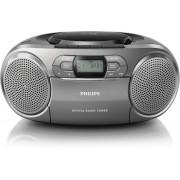 Microsistem audio Philips AZB600/12, 2X1 RMS, Tuner FM, CD, Caseta, DAB, AUX, Display LCD, Argintiu