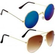 LAER Round, Aviator Sunglasses(Blue, Brown)