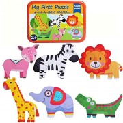 Baybee Premium Wooden Puzzle Games 6-In-A-Box! My First Animal Puzzle Set Of Animal / Metal Box, Lager Puzzle For Kids