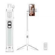 CYKE A18 Mini Multi-functional Bluetooth LED Fill Light Selfie Stick LED with Tripod for iPhone X/8/8 Plus Etc - White