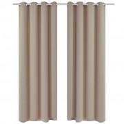 vidaXL Затъмняващи завеси с метални халки, 2 бр, 135x175 см, кремави