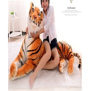 Giant Tiger - Lifelike Stuffed Animal Realistic Soft Plush Grovel Tiger Beige Stuffed Animals Toys for Baby Pillow and Kids' Gifts