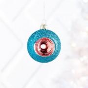 Vintage Glitter Blue Ball Ornament