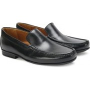 Clarks Claude Plain Black Leather Slip On For Men(Black)