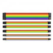 Set cabluri prelungitoare Thermaltake TtMod Sleeve Cable Kit, cleme incluse, 300mm, Rainbow