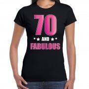 Bellatio Decorations 70 and fabulous verjaardag cadeau t-shirt / shirt 70 jaar zwart voor dames XL - Feestshirts