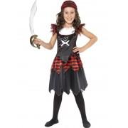 Childs Pirate Skull & Crossbones Girls Costume - MEDIUM
