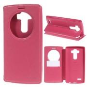 Notesz / flip tok - oldalra nyíló, hívószámkijelző kivágás, rejtett mágneses, álló, asztali tartó funkció, bankkártya tartó, szilikon belső - MAGENTA - LG G4