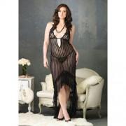 Vestido Longo de Malha Translúcida C/ Detalhes de Renda Tamanho Grande