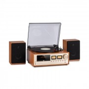 Auna Oxford Retro Stereo System DAB + / FM, funcție BT, funcție de vinil CD AUX-In, culoarea șampaniei (KC14-Turntable-CH)