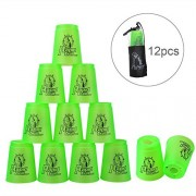 Quick Stacks Cups, 12 Sets Of Sports Stacking Cups Speed Training Game(Green)