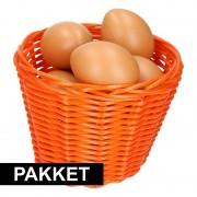 Geen Oranje Paasmandje met eieren naturel 14 cm