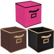 Billion Designer Non Woven 3 Pieces Large Foldable Storage Organiser Cubes/Boxes (Black & Coffee & Pink) - CTKTC35266 CTLTC035266(Black & Coffee & Pink)