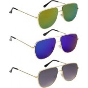 NuVew Retro Square Sunglasses(Blue, Golden, Green, Grey)