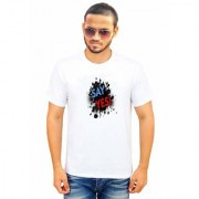DOUBLE F ROUND NECK HALF SLEEVE WHITE COLOR SAY YES PRINTED T-SHIRTS