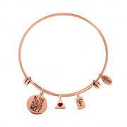 CO88 Armband 'Hart-You' staal/rosékleurig, all-size 8CB-13009