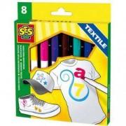 Комплект маркери за текстил, 8 цвята, SES, 080025