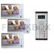 Videocitofono trifamiliare con 3 monitor DVR Foto Recorder per condominio