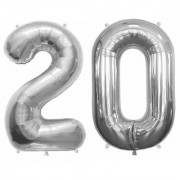 Stylewell Solid Silver Color 2 Digit Number (20) 3d Foil Balloon for Birthday Celebration Anniversary Parties