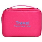 FUTURE CULB Travel your life! womens Ladies toiletry storage bag hanging folding cosmetic organizer large capability pouch Travel Toiletry Kit(Pink)