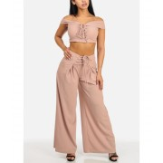 CheapChic Blush Lace Up Crop Top and High Rise Wide Leg Pants (2 PCE SET) Multicolor