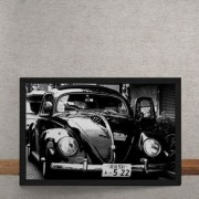 Quadro Decorativo Fusca Preto Brilhante 25x35