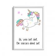 Grappige unicorn / eenhoorn poster De unicorn deed het