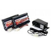 Tenergy 2pcs 9.6V 2000mAh NiMH Battery Packs for RC Car, Robots, Security + Simple Pack Charger
