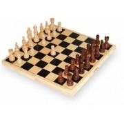 Joc de sah cutie din lemn 21x21cm cu 32 de piese de joc