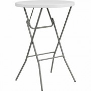 Flash Furniture Round Plastic Bar-Height Folding Table - 32Inch Diameter x 43 3/4Inch H, White, Model DADYCZ80R2BAR