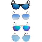 Rich Club Aviator, Cat-eye, Wayfarer Sunglasses(Clear, Black, Green, Blue)