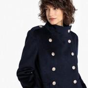 Manteau long mélange laine, style militaire