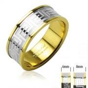 6 mm - Arany és ezüst színű karikagyűrű görög mintázattal-7