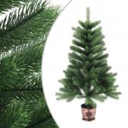 vidaXL Изкуствено коледно дърво, реалистични иглички, 90 см, зелено