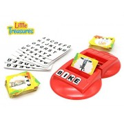 Literacy Fun Game - ideal activity challenge for 3+ Preschool Kids a educational game that consists of a docking that has a card holder, double sided word cards with pictures & alphabet paper tiles