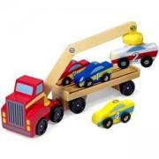 Дървен автовоз с магнитен кран и колички - 19390 - Melissa and Doug, 000772193900