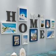 DaPeng Marco de Fotos Múltiples, un Conjunto de 10 Collage Foto Pared Sala de Estar Dormitorio Creativo Combinación Decorativa Pared (Color : Blue)
