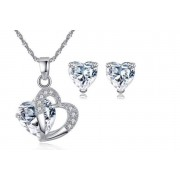Genova International Ltd £10 instead of £79 for a double heart crystal jewellery set from Genova International Ltd - save 87%