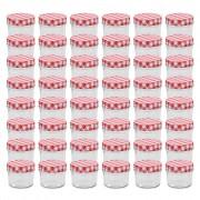 Sonata Стъклени буркани за сладко с бяло-червени капачки 48 бр 110 мл