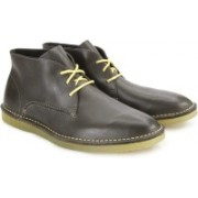 Clarks Darning Hi Grey Leather Boots For Men(Grey)