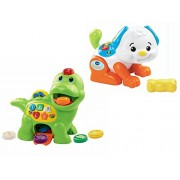 MegaMarketing VTech Chomp & Count Dino and VTech Shake & Sounds Puppy Educational/Learning Toys for Toddlers Bundle