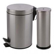Set cos de gunoi cu pedala si perie WC cu suport inox 3L Argintiu