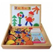 Joc multifunctional educativ din lemn cu tablita magnetica cu doua fete si puzzle magnetic