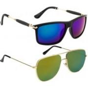 NuVew Rectangular, Retro Square Sunglasses(Blue, Golden, Green)