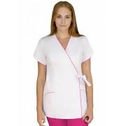 Bluza medicala alb cu roz
