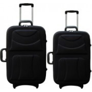 PRRIZE WORLD High Quality Imported Combo 24+20 Check-in Luggage - 24 inch(Black)