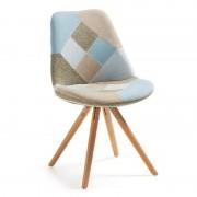 La Forma Stoel Lars patchwork blauw/grijs/beige stof met houten poten