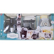 GOURMET Child Size KITCHEN APPLIANCES (Silver/Gray & Black) w Battery Operated COFFEE MAKER (Dispenses Water)
