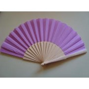 Lilac Fabric & Wooden Fan