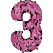 3. szám, fólia lufi, Minnie Mosue Forever, 66 cm